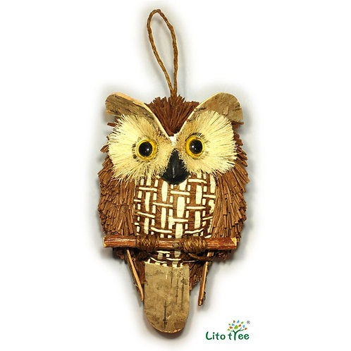 LitoTree Owl Decor Owl Perched on Twig Handmade with Natural Materials