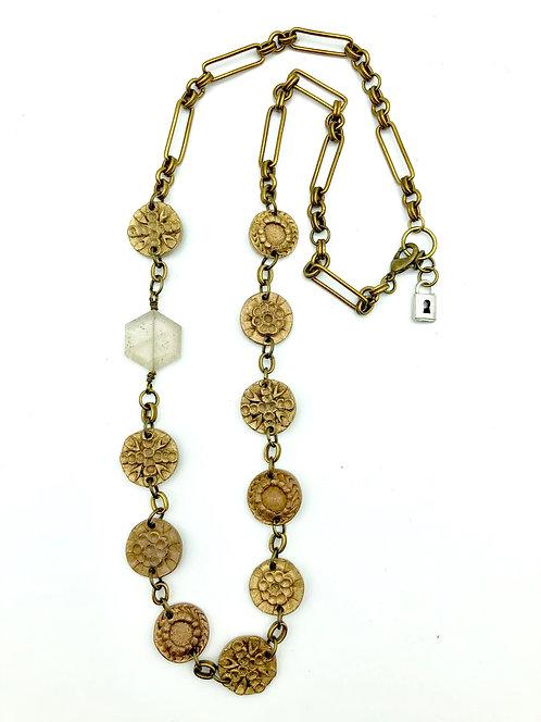 "Alonzo Bronze Medallions & Hexagonal Quartz Stone Necklace 27"""