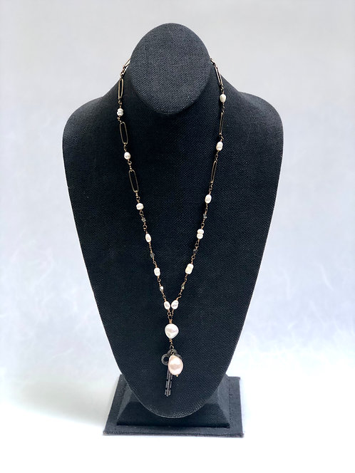 """Bronze Chain Link & Fresh Water Pearls Necklace 38"""""""