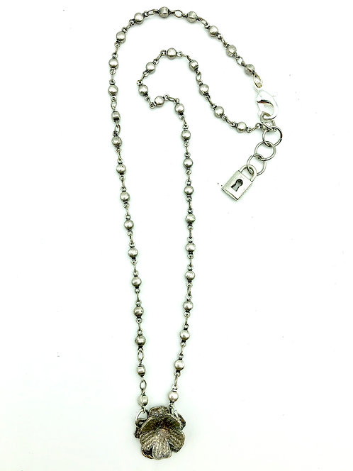 Anna Pavlova Sterling Silver Rosary Bead & Flower Necklace 18""