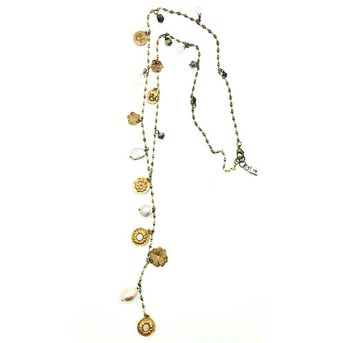 """Bronze Y Necklace With Charms, Moonstones, Fresh Water Pearls & Pyrite 44"""""""