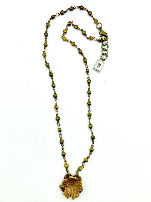 "Anna Pavlova Bronze Rosary Bead & Flower Necklace 18"""