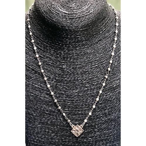 "Diamond Shape Sterling Silver Pendant Necklace 20"""