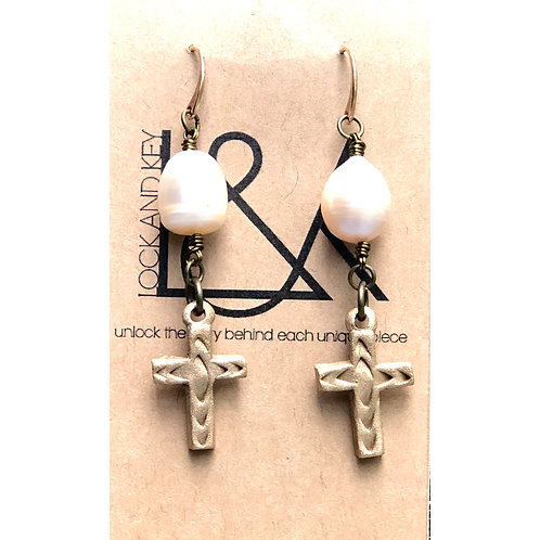 Bronze Cross And Pearl Earring