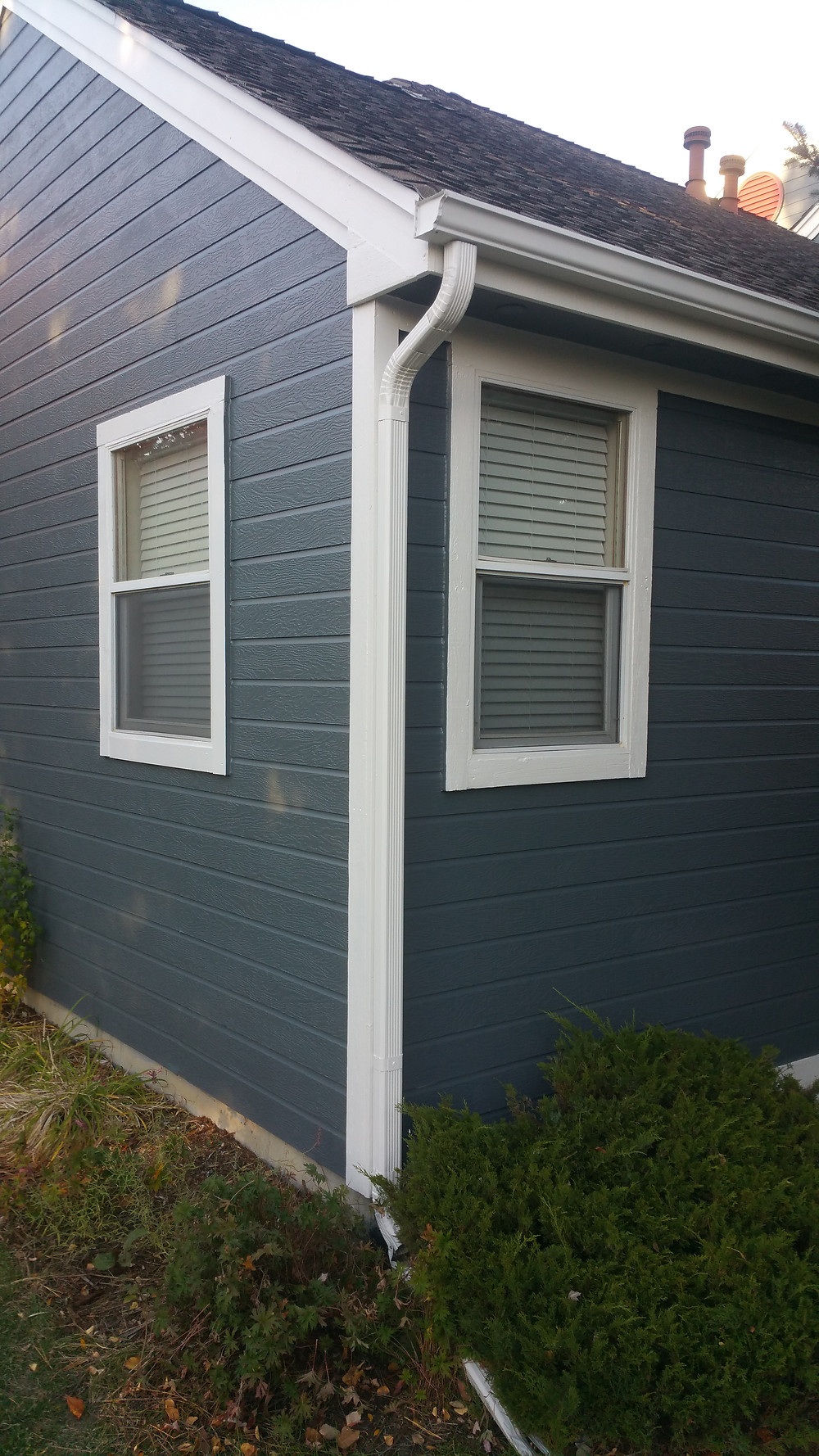 The white trim really pops against the steel grayish blue body color.