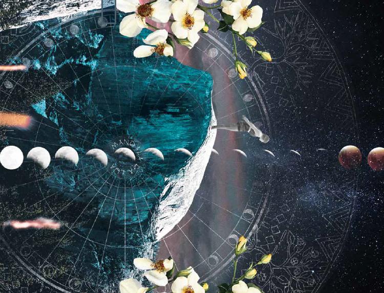 Conexão com as fases da lua: redescoberta (Colagem: Marcela Briotto com mandala Danza Medicina)
