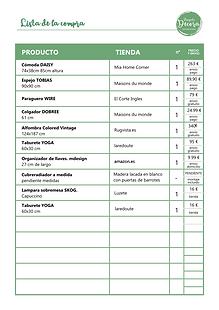 Lista de la compra Proyecto Decora
