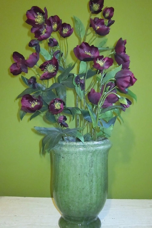 Large faux burgundy hellebore urn