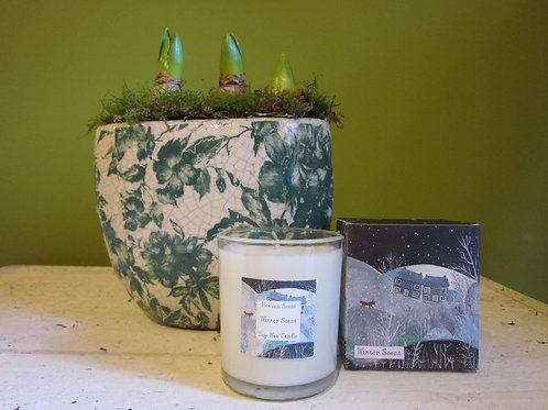 Floral bulb planter and candle