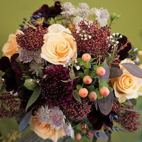 Rich burgundy and apricot bouquet