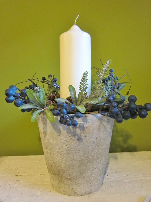 Faux blueberry candle pot