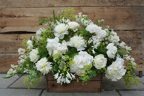 Large crate of white summer flowers.