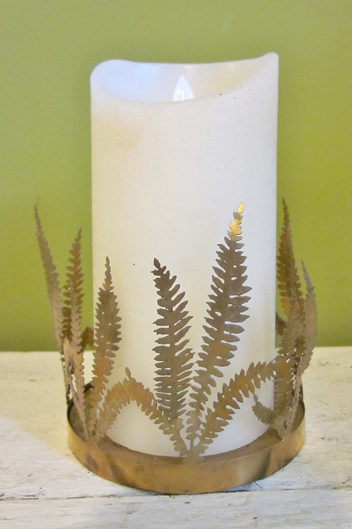 Fern Candle Holder with candle