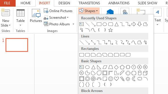 microsoft powerpoint insert shapes tool
