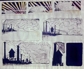"""Cartoon Panel Pen & Ink 8"""" x 11"""""""