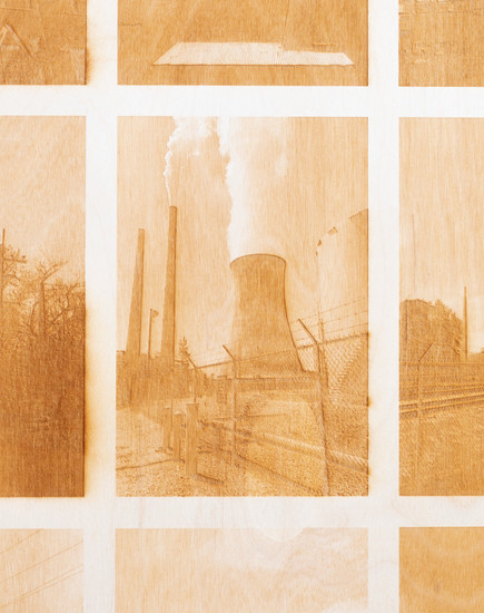 SMOKESTACKS  This piece considers how smoke can act as a symbol for death; death of the nicotine addict, abody that is cremated,the environment and its inhabitants. Due to the use of laser etching, the viewer is confronted with the aroma ofburnt woodthat lingers from the surface of this work. Smokestacksis inspired by Bernd and Hilla Becher's photographic series Water Towers(1988) through its use of a 3x3 grid to study the banal and repetitive visualsof industrial architecture.  Laser etching on plywood 24x18 inches 2019