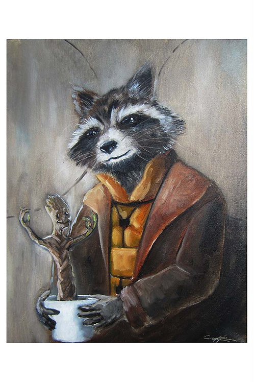Baroque Racoon and Branch