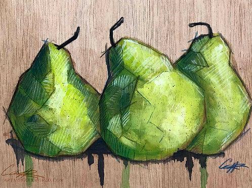 Green Pears on Wood Original Acrylic