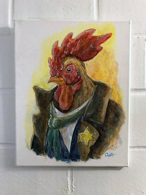 """"""" Cock-a-doodle-deputy """" Original Oil"""