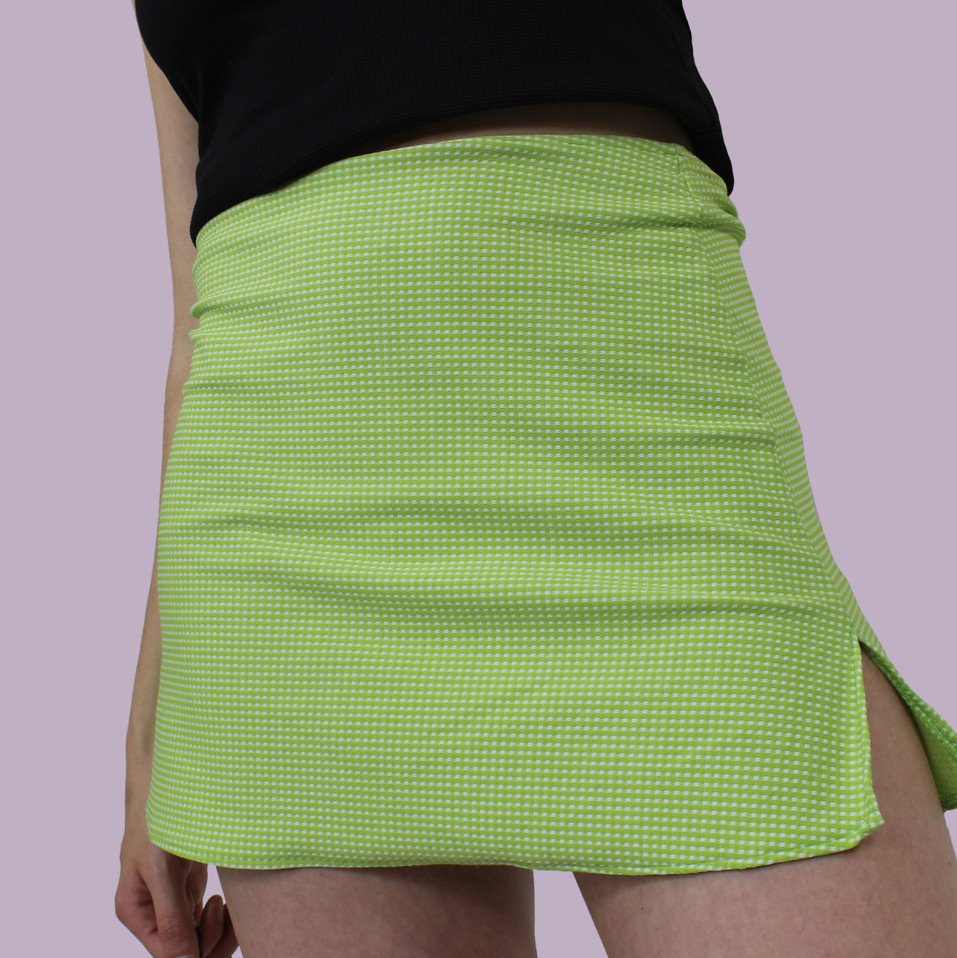 Lime Green Gingham Mini