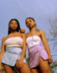 Maisi Fabbrni & Nanaya wearing a Shuubs wrap skirt, paired with a chain belt