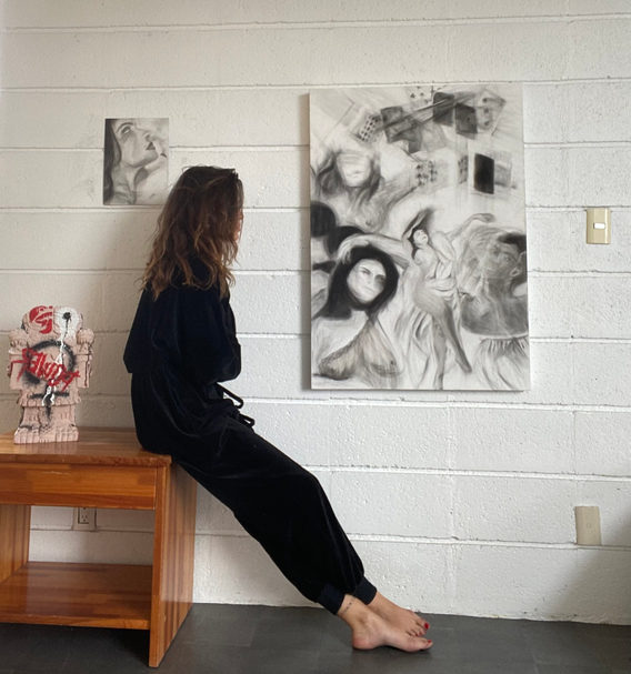 APHRODITE'S | 70x110cm | canvas,pencil,carbon   COATLICUE | Sonya Fihcte x Arturo Dib | cantera | 25x20x42cm | Uniq piece | Handcraftet