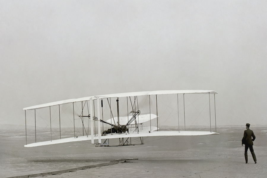 First powered airplane flight...