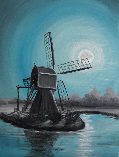 Windmühle mit Mond