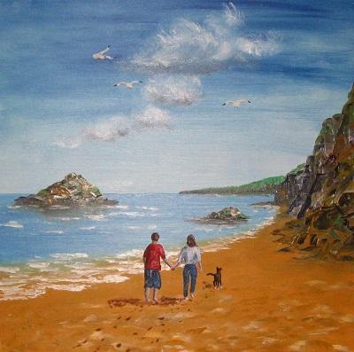 Spaziergänger an der Engl. Südküste