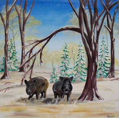 Schweine im Winterwald