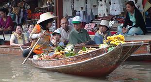 marché flottant thailande - thailande vacance