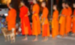 offrandes moines luang prabang - guide touristique thailande