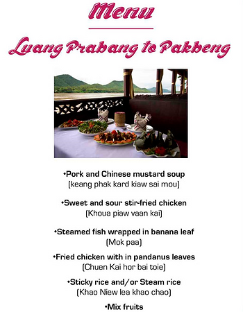 menu croisiere luang prabang - thailande vacance