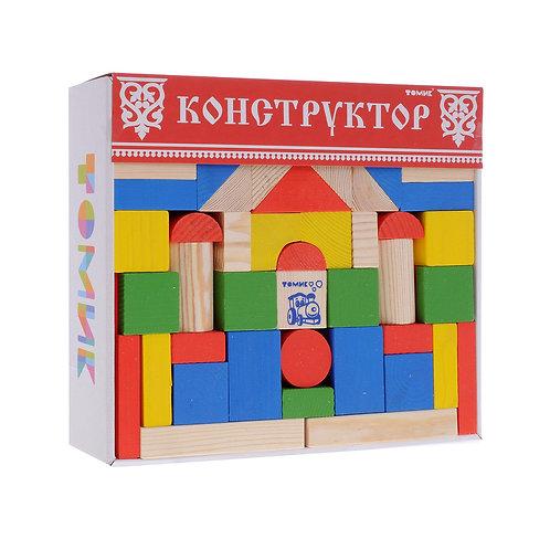 Томик. Детский деревянный конструктор 65 элементов