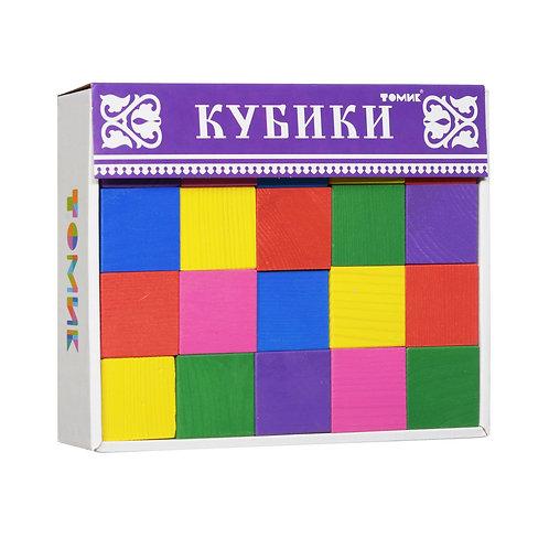 Томик. Кубики из дерева цветные 20 штук