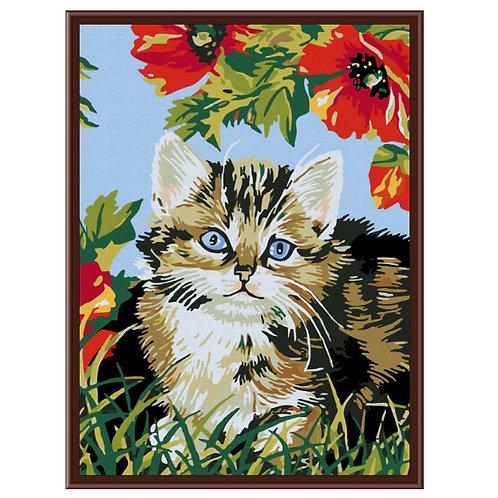 Color Kit. Картина по номерам Котёнок в цветах 30 х 40 см