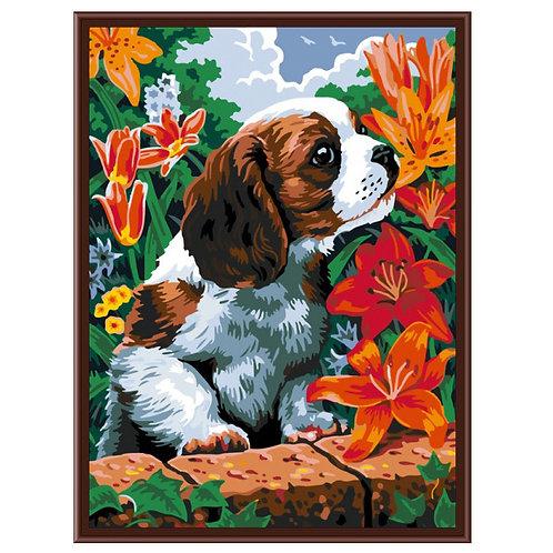 Color Kit. Картина по номерам Щенок и лилии 30 х 40 см