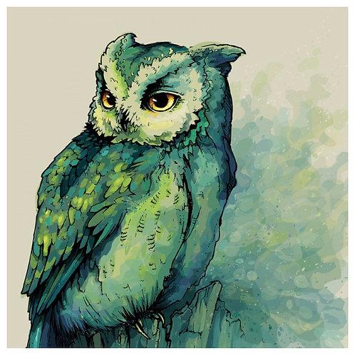 Color Kit. Картина по номерам Изумрудная сова 30 х 30 см