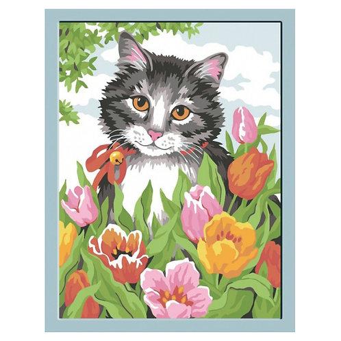 Color Kit. Картина по номерам Кошечка в тюльпанах 30 х 40 см