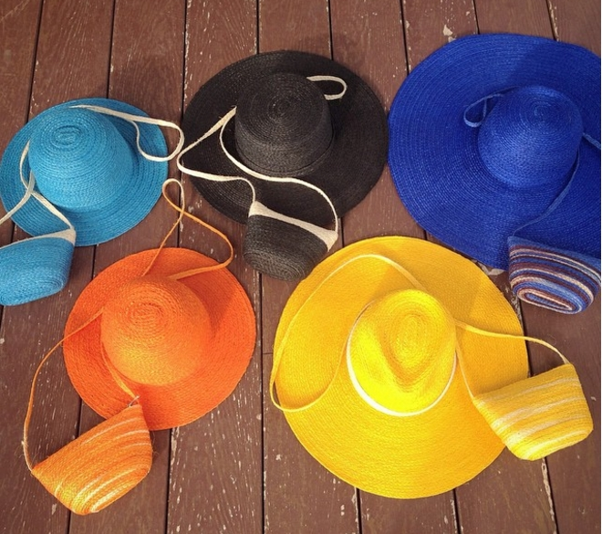 straw hat bag set