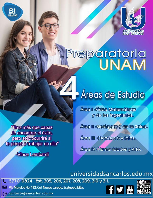 Prepa UNAM 4 especialidades.