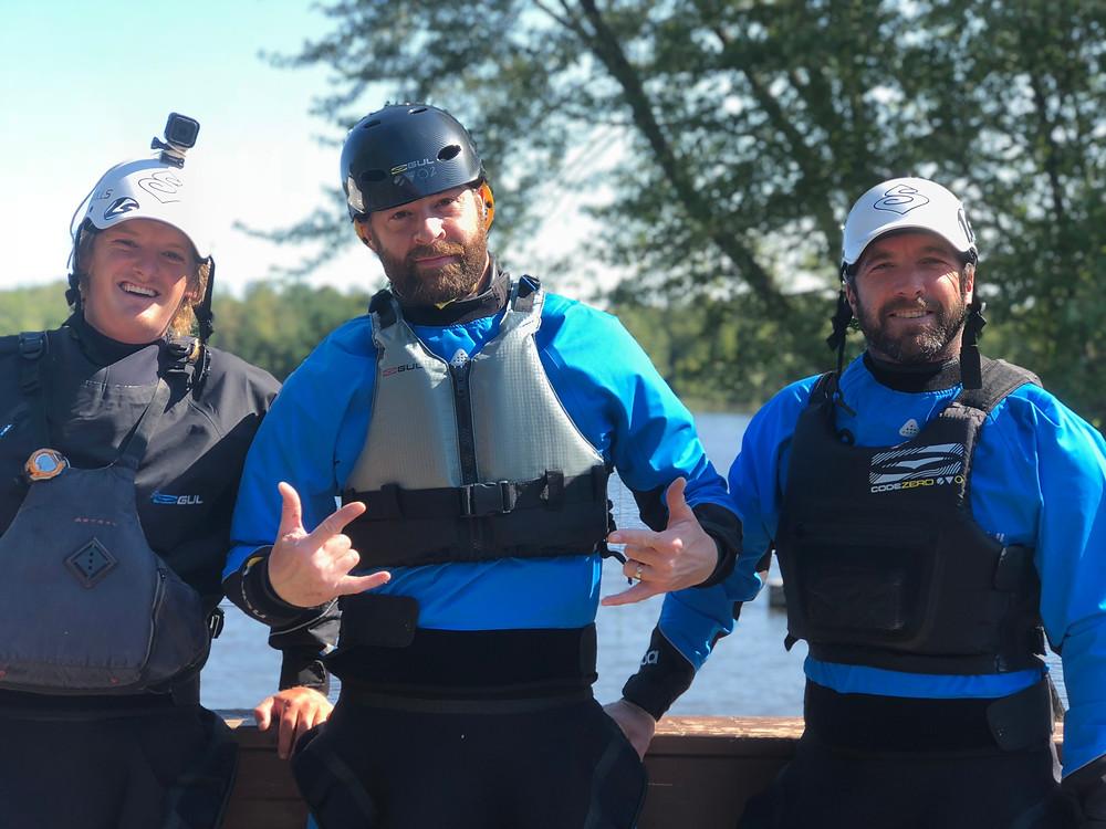 Joey Hitchins, Dan Officer, Devyn Scott at Liquid Skills Kayak & SUP School Ottawa River