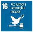 ODS16 Paz, Justiça e Instituições Eficazes: pomba com ramo de folhas e martelo justiça.