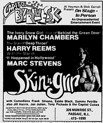 "Ad for burlesque show ""Skin 'n' Grin"" starring Marilyn Chambers, The Village Voice, December 6, 1973"