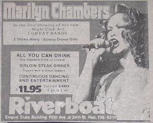 Advertisement for Marilyn Chambers at the Riverboat, Empire State Building, New York City, 1974