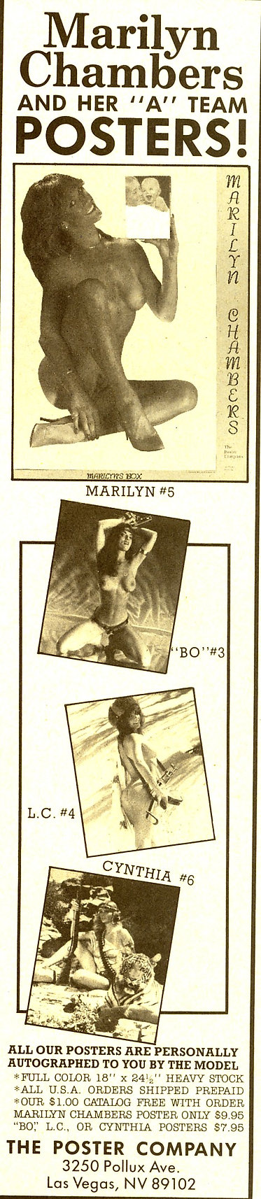 The Poster Company advertisement featuring a Marilyn Chambers poster, ca. 1983