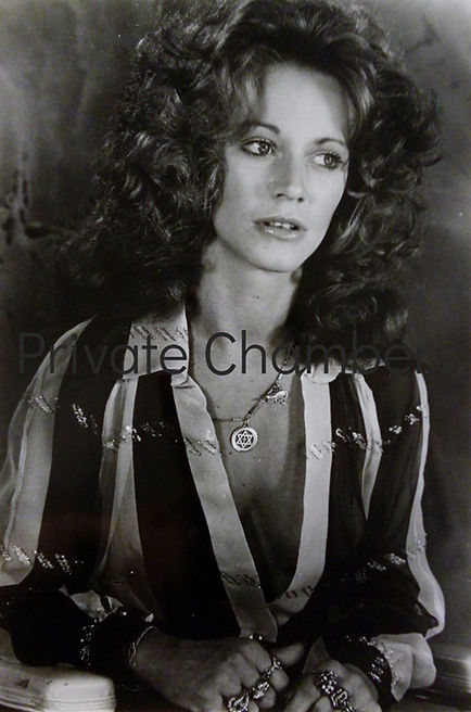 Marilyn Chambers at a press conference announcing her role in Nicholas Ray's City Blues, 1976