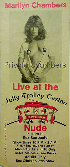 Flyer for Sex Surrogate starring Marilyn Chambers at the Jolly Trolley Casino, Vegas, 1979
