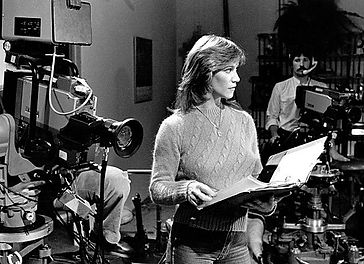 "Marilyn Chambers on the set of the 1983 cable TV series ""Love Ya, Florence Nightingale"""