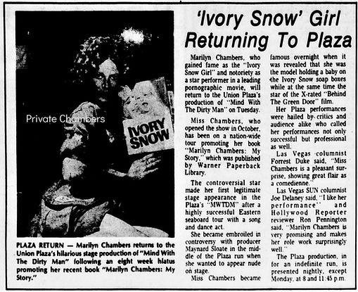 Article from The Las Vegas Sun about Marilyn Chambers in Mind with the Dirty Man, 1975